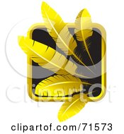 Royalty Free RF Clipart Illustration Of A Black And Golden Feathers Website Icon