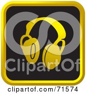 Royalty Free RF Clipart Illustration Of A Black And Golden Headphones Website Icon by Lal Perera