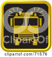Royalty Free RF Clipart Illustration Of A Black And Golden Fire Truck Website Icon by Lal Perera
