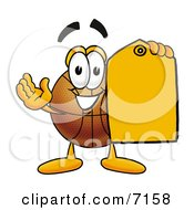 Clipart Picture Of A Basketball Mascot Cartoon Character Holding An Orange Sales Price Tag