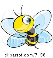 Royalty Free RF Clipart Illustration Of A Little Blue Eyed Bee Version 4