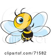 Royalty Free RF Clipart Illustration Of A Little Blue Eyed Bee Version 2