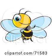 Royalty Free RF Clipart Illustration Of A Little Blue Eyed Bee Version 3