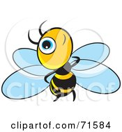 Royalty Free RF Clipart Illustration Of A Little Blue Eyed Bee Version 1