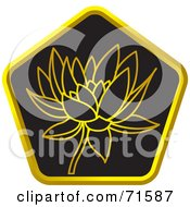 Royalty Free RF Clipart Illustration Of A Black And Golden Lotus Website Icon Version 2