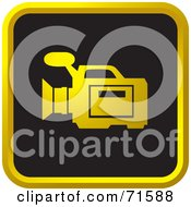 Royalty Free RF Clipart Illustration Of A Black And Golden Video Camera Website Icon by Lal Perera