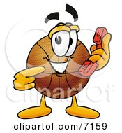 Clipart Picture Of A Basketball Mascot Cartoon Character Holding A Telephone