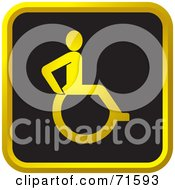 Black And Golden Wheel Chair Website Icon