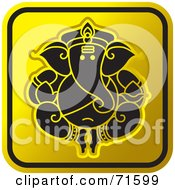 Royalty Free RF Clipart Illustration Of A Black And Golden Ganesh Website Icon Version 1 by Lal Perera