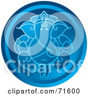 Royalty Free RF Clipart Illustration Of A Blue Circular Ganesha Icon by Lal Perera