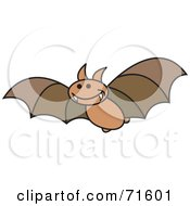Royalty Free RF Clipart Illustration Of A Brown Flying Bat With Fangs
