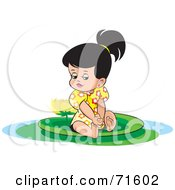 Royalty Free RF Clipart Illustration Of A Little Girl Sitting On A Lily Pad With A Lotus