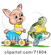 Royalty Free RF Clipart Illustration Of A Tortoise Pulling A Rabbit On A Cart by Lal Perera