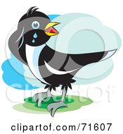 Royalty Free RF Clipart Illustration Of A Magpie Bird Crying by Lal Perera