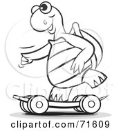 Royalty Free RF Clipart Illustration Of A Black And White Outline Of A Sporty Tortoise Skateboarding by Lal Perera