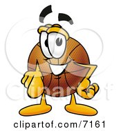 Clipart Picture Of A Basketball Mascot Cartoon Character Pointing At The Viewer