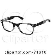 Royalty Free RF Clipart Illustration Of A Pair Of Black Spectacles