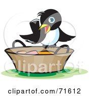 Royalty Free RF Clipart Illustration Of A Magpie Perched On A Bucket by Lal Perera