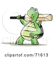 Royalty Free RF Clipart Illustration Of A Sporty Tortoise With A Cricket Bat by Lal Perera