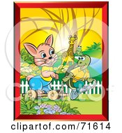 Royalty Free RF Clipart Illustration Of A Giraffe And Frog Watching A Turtle Pull A Hare On A Cart by Lal Perera