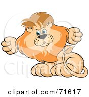 Royalty Free RF Clipart Illustration Of A Male Lion Sitting And Shrugging