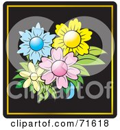 Royalty Free RF Clipart Illustration Of A Short Vase With Colorful Flowers On Black With Gold Trim by Lal Perera