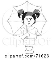 Royalty Free RF Clipart Illustration Of A Black And White Dotted Lined Girl Holding An Umbrella