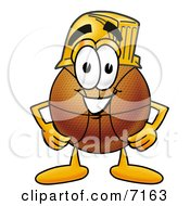 Clipart Picture Of A Basketball Mascot Cartoon Character Wearing A Helmet