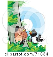 Royalty Free RF Clipart Illustration Of A Magpie Talking To An Owl In A Tree by Lal Perera