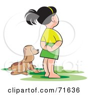 Royalty Free RF Clipart Illustration Of A Girl Standing Beside Her Puppy by Lal Perera
