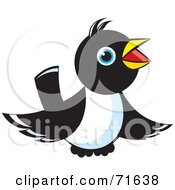 Royalty Free RF Clipart Illustration Of A Magpie Bird Hovering And Chirping by Lal Perera