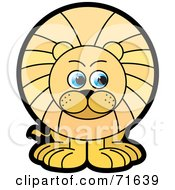 Royalty Free RF Clipart Illustration Of A Male Lion With Blue Eyes Glancing Right