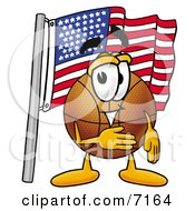 Clipart Picture Of A Basketball Mascot Cartoon Character Pledging Allegiance To An American Flag