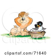 Royalty Free RF Clipart Illustration Of A Male Lion Watching A Magpie On A Basket by Lal Perera