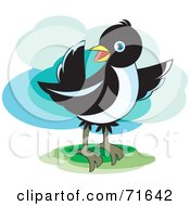 Royalty Free RF Clipart Illustration Of A Magpie Bird Pointing by Lal Perera