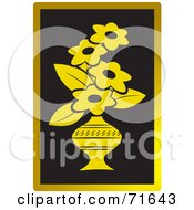 Royalty Free RF Clipart Illustration Of A Vase Of Golden Flowers On Black With Gold Trim by Lal Perera