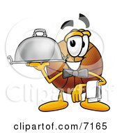 Clipart Picture Of A Basketball Mascot Cartoon Character Dressed As A Waiter And Holding A Serving Platter