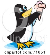 Royalty Free RF Clipart Illustration Of A Penguin Eating Ice Cream by Lal Perera