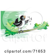 Royalty Free RF Clipart Illustration Of A Magpie Bird Singing On A Branch