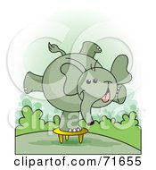 Royalty Free RF Clipart Illustration Of A Happy Elephant Balanced On A Stool by Lal Perera