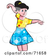 Royalty Free RF Clipart Illustration Of A Little Girl Dancing