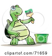 Royalty Free RF Clipart Illustration Of A Tortoise Painting With Green Paint by Lal Perera