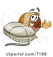 Clipart Picture Of A Basketball Mascot Cartoon Character With A Computer Mouse
