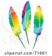 Royalty Free RF Clipart Illustration Of Three Rainbow Colored Feathers by Lal Perera