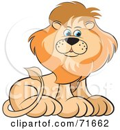 Royalty Free RF Clipart Illustration Of A Male Lion Sitting And Glancing To The Right