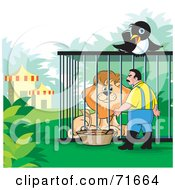 Royalty Free RF Clipart Illustration Of A Magpie Watching A Zoo Keeper Tend To A Lion by Lal Perera