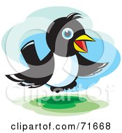 Royalty Free RF Clipart Illustration Of A Magpie Bird Hovering by Lal Perera