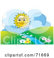 Royalty Free RF Clipart Illustration Of A Happy Sun Shining Over Hills And A Stream by Lal Perera