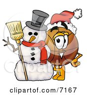 Clipart Picture Of A Basketball Mascot Cartoon Character With A Snowman On Christmas