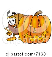 Clipart Picture Of A Basketball Mascot Cartoon Character With A Carved Halloween Pumpkin